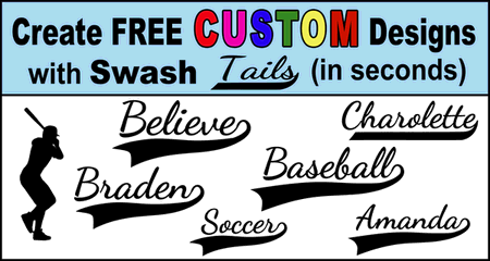 Free Cursive Font Generator with calligraphy swash typography allows you to create personalized decorative lettering. Great for customized baseball jerseys, wall art, DIY projects, cutting machines (Cricut and Silhouette),  sewing and quilting, and other DIY arts and crafts.