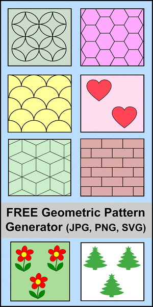 Geometric Patterns. Create free printable repeatable geometric patterns using this free online generator.  Save in PNG, JPG, or SVG vector format. Cricut, Silhouette, and DIY woodworking projects and crafts.