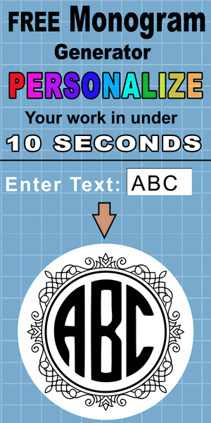 Free monogram maker (online monogram generator) - create your own personalized, customized, motif of your three initials for weddings, cutting machines (Cricut and Silhouette),  sewing and quilting, and other DIY arts and crafts.