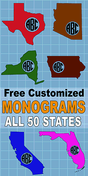 Free state monogram maker generate customize 1, 2, or 3 initials svg patterns all 50 United States (US) states.