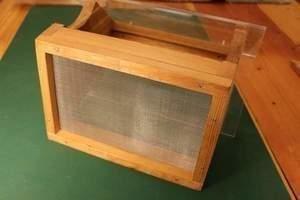 Wire mesh screen floor for bird feeder