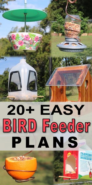 DIY Homemade Bird Feeder Plans - including recycled milk cartoons, toilet paper rolls, pine cones, suet feeders, platform, and hanging feeders.