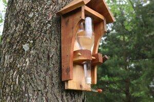 DIY hummingbird feeder wine bottle
