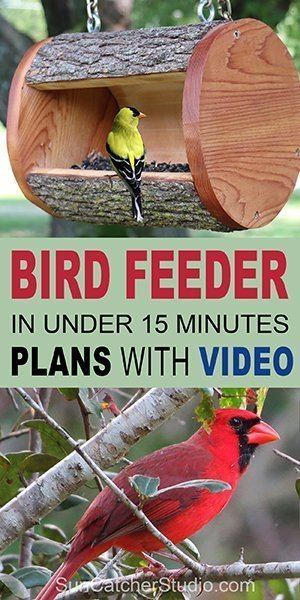 Learn how to make a hanging Bird Feeder from a natural LOG. This homemade DIY birdfeeder will attract chickadees, nuthatches, woodpeckers, house finches, goldfinches, and bluebirds to your yard or garden.