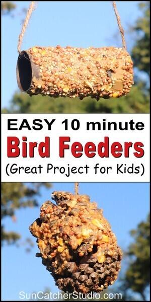 Peanut butter bird feeder, homemade, handmade, easy birdfeeder, recycle toilet paper roll, pine cone, kid project.