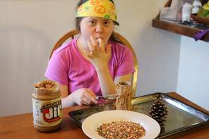 Homemade peanut butter bird feeder