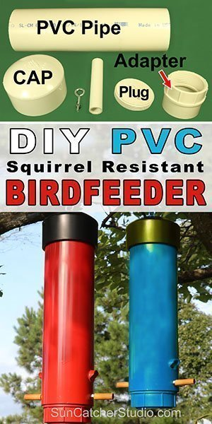 Free DIY PVC plastic bird feeder for backyard or garden. Attract bluebirds, chickadees, goldfinches, nuthatches, titmice, and juncos.