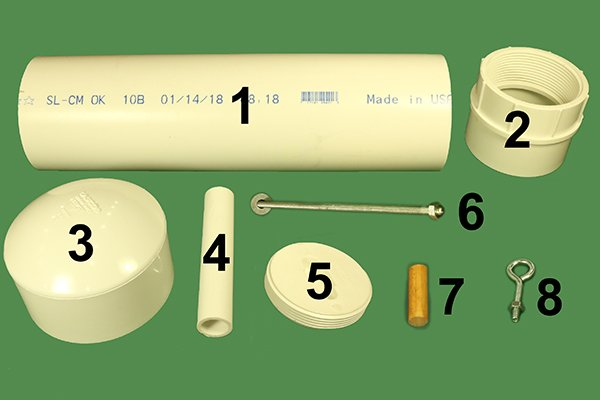 Materials needed to build PVC bird feeder.