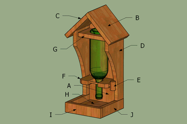 Wine bottle bird feeder dimensions labeled.