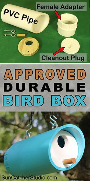 Free Easy DIY PVC Bird Box Plans (Nesting Birdhouse) for backyard or garden. Attract bluebirds, swallows, chickadees, nuthatches, warblers, woodpeckers, and wrens.