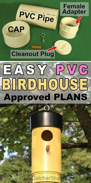 Free DIY PVC plastic bird house design plans (bird box, nesting) for backyard or garden. Attract bluebirds, chickadees, goldfinches, nuthatches.