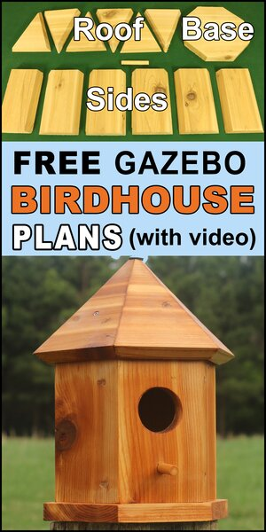 Bird house plans to make a gazebo (6-sided hexagon) shaped nesting box.  Free DIY homemade instructions, directions and measurements to create a wooden bird box for bluebirds, wrens, chickadees, nuthatches, woodpeckers, house finches.