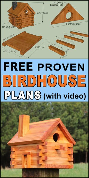 Free bird house plans to create a log cabin bird nesting box.  Free DIY homemade instructions, directions and measurements to create a wooden bird box for bluebirds, wrens, chickadees, nuthatches, woodpeckers, house finches.