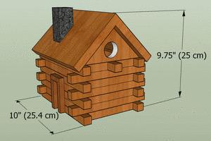 Log cabin bird house dimensions.