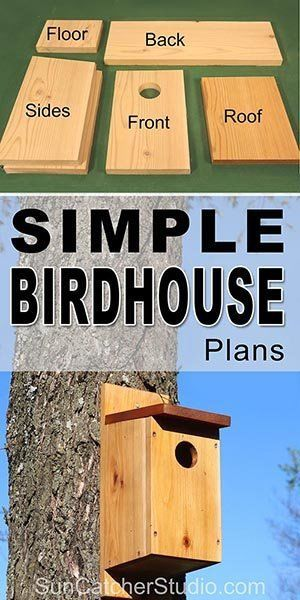 Free simple Birdhouse plans to attract birds to your backyard and garden. This bird house makes a great family project that the kids can help build.