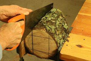 Cut the log using a hand saw.