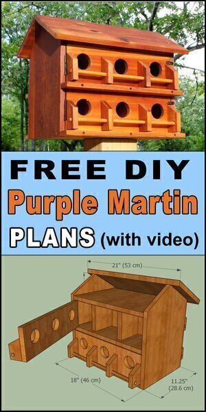 Purple martin house plans.  Free printable DIY directions to make a wooden handmade or homemade bird nesting box.