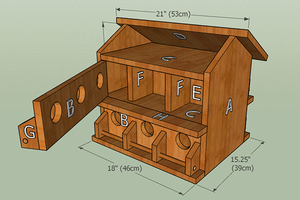 Labeled purple martin birdhouse plans.