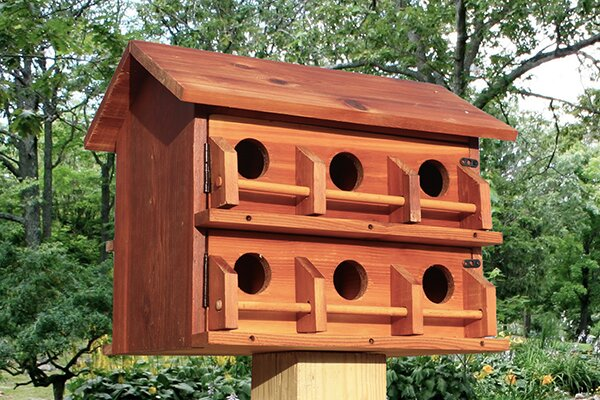 Purple martin bird house in a garden.