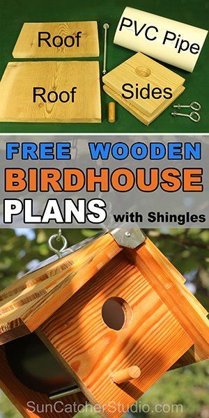 Easy DIY Wooden Bird Box Plans for backyard or garden. This nest box or bird house made from PVC pipe or a coffee can will attract bluebirds, swallow, chickadees, nuthatches, warblers, woodpeckers, and wrens.