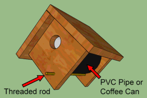 3D drawing of wooden bird box.