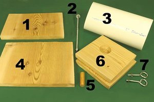The 7 minimum materials needed to build this bird box.