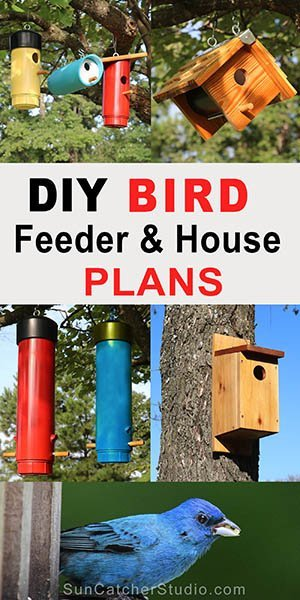 Free DIY bird house (nesting box, birdhouse) and bird feeder plans to attract bluebirds, swallows, chickadees, nuthatches, warblers, woodpeckers, wrens, and other birds to your garden or backyard.