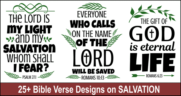 Bible Verse Designs on Salvation: Scripture Quotes & SVG Files