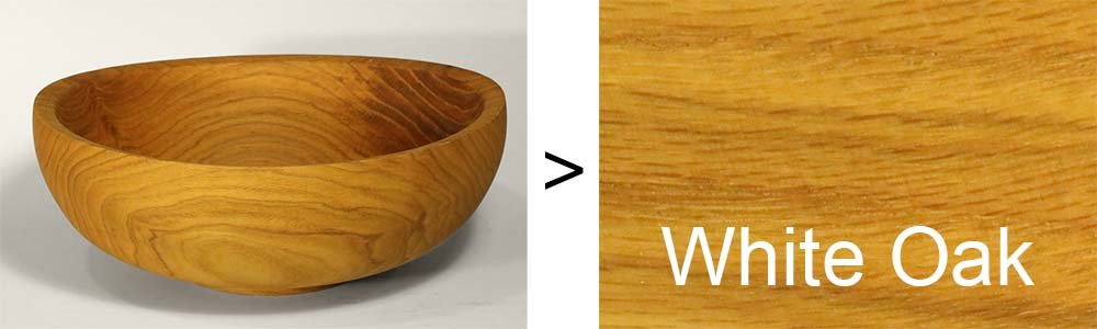 Bowl with white oak grain.