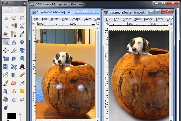 "Screen capture showing the GNU Image Manipulation Program ""GIMP"" interface."