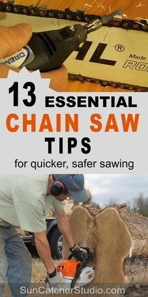 Chainsaw sharpening, repair, and safety tips.  Includes information on bar oil, tension, gauge, pitch and how to sharpen a chainsaw.