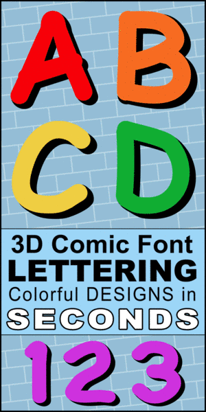 FREE printable 3D comic font, lettering, 3d font generator, DIY, teachers, banners, stencils, patterns, font letters, numbers, and alphabet patterns, signs, bulletin boards, decorations, etc.