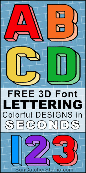 FREE printable 3D font, lettering, 3d font generator, stencils, patterns, font letters, numbers, and alphabet patterns, signs, bulletin boards, decorations, etc.