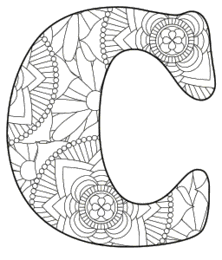 Free printable C - coloring letter.abc alphabet colouring coloring letter coloring sheet with pattern for kids and adults stencil, thick pattern typeface bold download svg, png, pdf, jpg pattern.