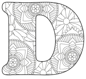 Free printable D - coloring letter.abc alphabet colouring coloring letter coloring sheet with pattern for kids and adults stencil, thick pattern typeface bold download svg, png, pdf, jpg pattern.