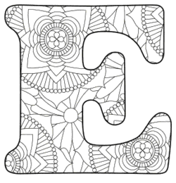 Free printable E - coloring letter.abc alphabet colouring coloring letter coloring sheet with pattern for kids and adults stencil, thick pattern typeface bold download svg, png, pdf, jpg pattern.