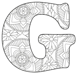 Free printable G - coloring letter.abc alphabet colouring coloring letter coloring sheet with pattern for kids and adults stencil, thick pattern typeface bold download svg, png, pdf, jpg pattern.
