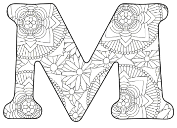 Free printable M - coloring letter.abc alphabet colouring coloring letter coloring sheet with pattern for kids and adults stencil, thick pattern typeface bold download svg, png, pdf, jpg pattern.
