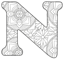 Free printable N - coloring letter.abc alphabet colouring coloring letter coloring sheet with pattern for kids and adults stencil, thick pattern typeface bold download svg, png, pdf, jpg pattern.