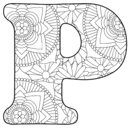 Free printable P - coloring letter.abc alphabet colouring coloring letter coloring sheet with pattern for kids and adults stencil, thick pattern typeface bold download svg, png, pdf, jpg pattern.