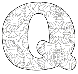 Free printable Q - coloring letter.abc alphabet colouring coloring letter coloring sheet with pattern for kids and adults stencil, thick pattern typeface bold download svg, png, pdf, jpg pattern.