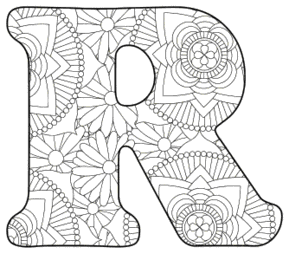 Free printable R - coloring letter.abc alphabet colouring coloring letter coloring sheet with pattern for kids and adults stencil, thick pattern typeface bold download svg, png, pdf, jpg pattern.