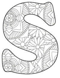 Free printable S - coloring letter.abc alphabet colouring coloring letter coloring sheet with pattern for kids and adults stencil, thick pattern typeface bold download svg, png, pdf, jpg pattern.