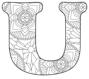 Free printable U - coloring letter.abc alphabet colouring coloring letter coloring sheet with pattern for kids and adults stencil, thick pattern typeface bold download svg, png, pdf, jpg pattern.