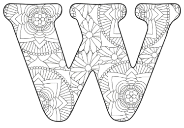 Free printable W - coloring letter.abc alphabet colouring coloring letter coloring sheet with pattern for kids and adults stencil, thick pattern typeface bold download svg, png, pdf, jpg pattern.