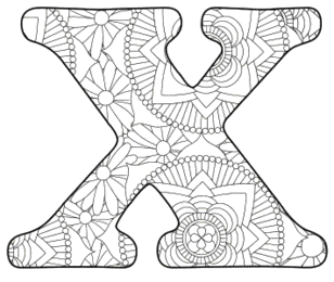 Free printable X - coloring letter.abc alphabet colouring coloring letter coloring sheet with pattern for kids and adults stencil, thick pattern typeface bold download svg, png, pdf, jpg pattern.