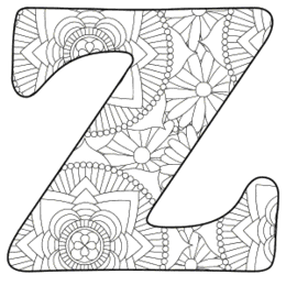 Free printable Z - coloring letter.abc alphabet colouring coloring letter coloring sheet with pattern for kids and adults stencil, thick pattern typeface bold download svg, png, pdf, jpg pattern.