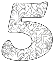Free printable 5 - coloring stencil.abc alphabet colouring coloring letter coloring sheet with pattern for kids and adults stencil, thick pattern typeface bold download svg, png, pdf, jpg pattern.