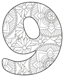 Free printable 9 - coloring stencil.abc alphabet colouring coloring letter coloring sheet with pattern for kids and adults stencil, thick pattern typeface bold download svg, png, pdf, jpg pattern.