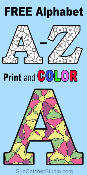 Free printable coloring alphabet letters with patterns to color for preschool, kids, and adults.